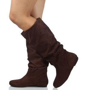 Tobacco Faux Suede Slouchy Knee High Flat Boot
